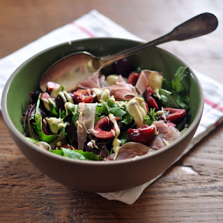 Cherry and Prosciutto Salad with Creamy Mustard Dressing.