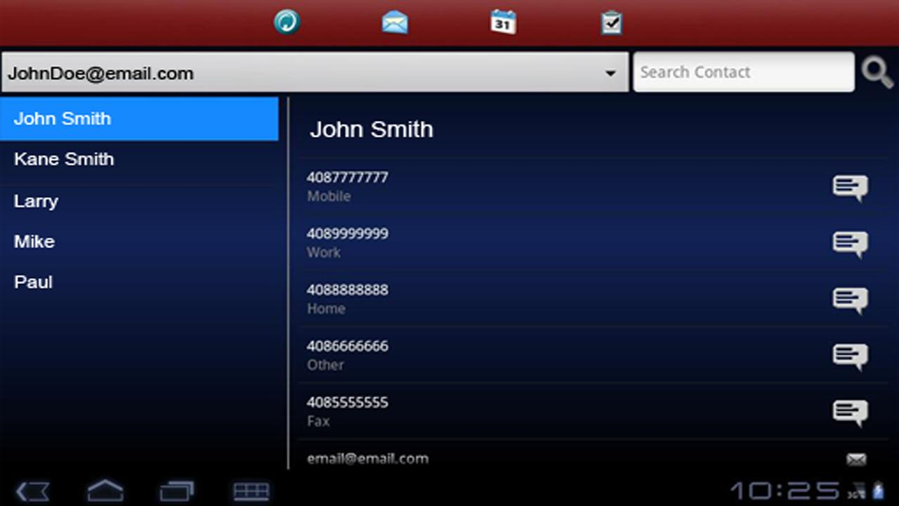 Exchange ActiveSync for Tablet - screenshot