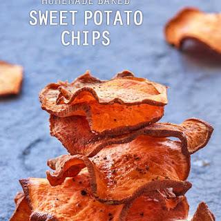 Homemade Baked Sweet Potato Chips.