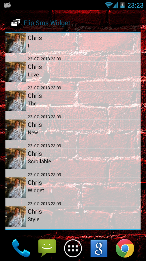 Flip Sms Widget - screenshot