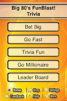 Screenshot of Big 80s FunBlast Trivia Quiz