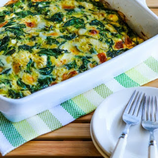 Power Greens Breakfast Casserole with Feta and Mozzarella.