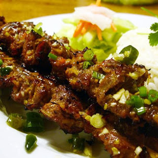 Honey Sriracha Beef Skewers.