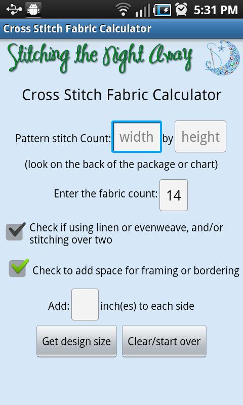 XStitch Fabric Calculator Pro- screenshot