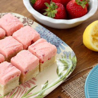 Strawberry Lemonade Frosted Sugar Cookie Bars.