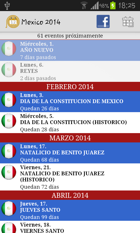 Calendario Feriados Mexico- screenshot