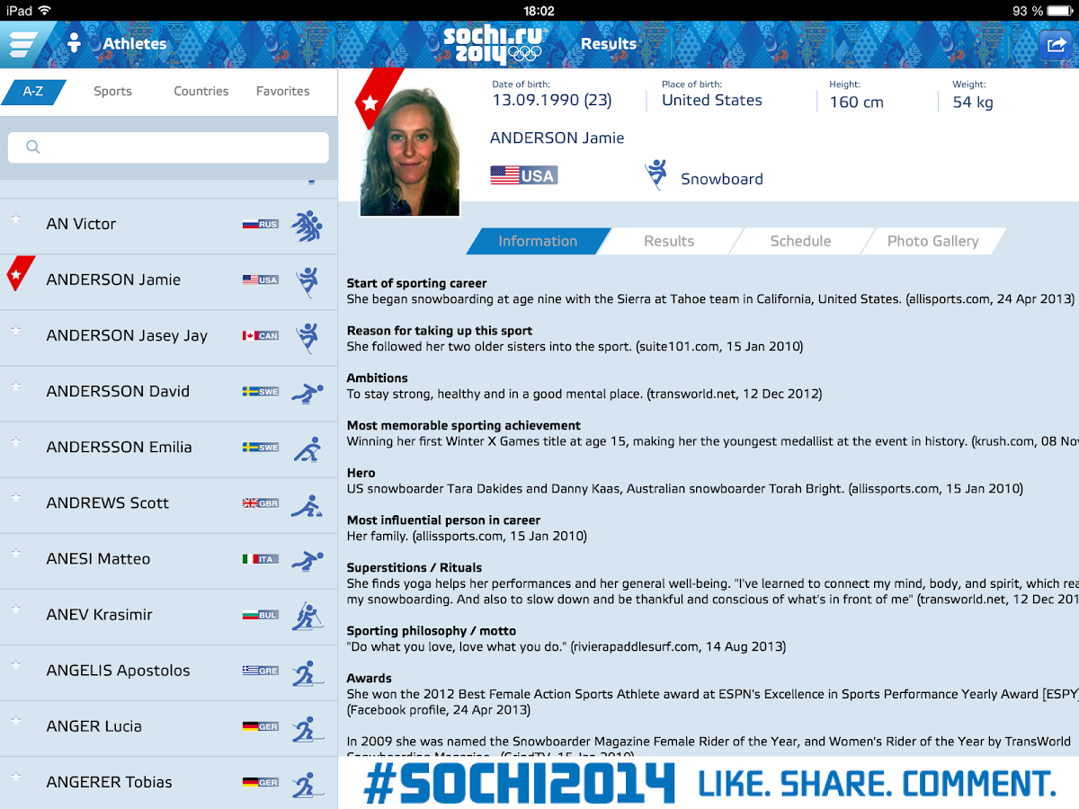 Sochi 2014 Results - screenshot