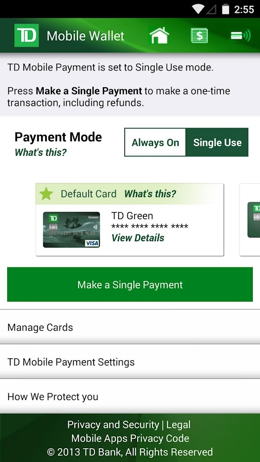 Td credit card account : Percentage chart
