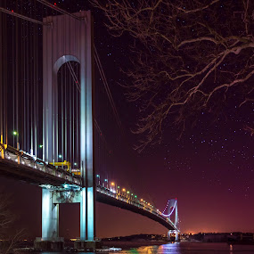 Starry Night at the Verrazano Bridge by Hoover Tung - Buildings & Architecture Bridges & Suspended Structures ( mood-lites, moods, highway, arch, colorful, park at night, narrows, awareness, cityscape, architecture, charity, engineering, city, lights, night life, autism, serenity, new york state, street at night, city at night, light, evening, tall, nightlife, purple, mood, suspension, bulbs, april 2nd, steel, nighttime in the city, tower, traffic, expressway, lighting, color, blue, stars, factory, night, liub, bridge, mood factory, river, brooklyn )