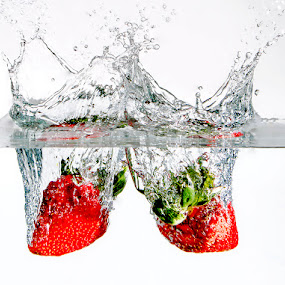 Strawberry Duo Splash by Emily James - Food & Drink Fruits & Vegetables ( food; strawberries; water; splash;,  )