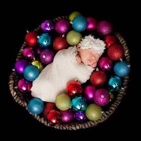 Christmas Baby by Mike DeMicco - Public Holidays Christmas ( holiday, love, babygirl, balls, xmas, basket, christmas, baby, decorations, cute, newborn )