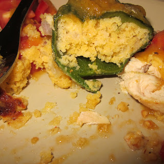 Cornbread Stuffed Poblanos With Chile Peach Sauce