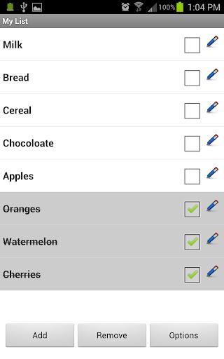 My List - Shopping Task List