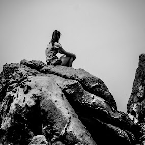 Girl On Stone by Eddy Tan - Black & White Landscapes (  )