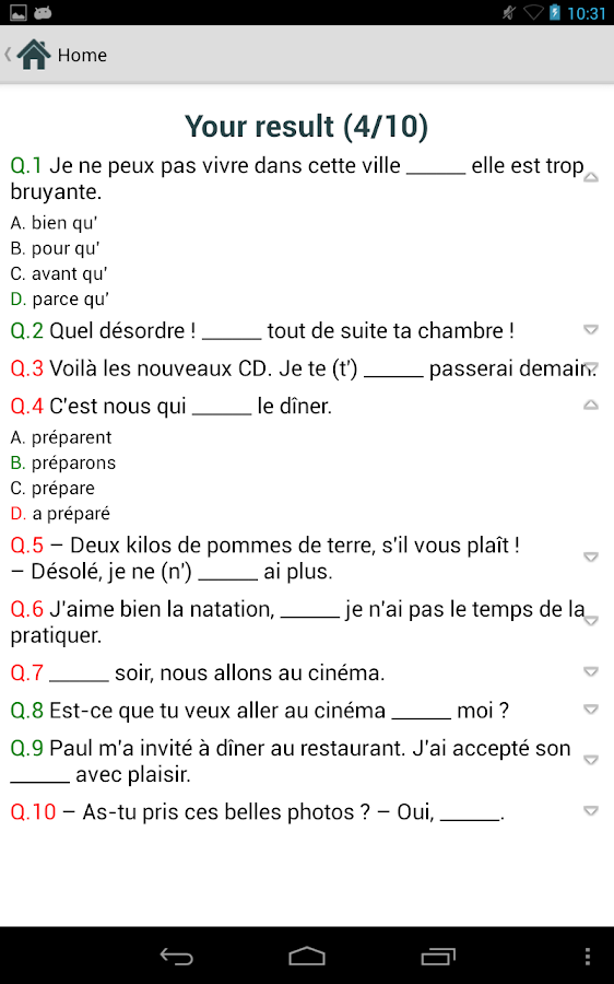 french practice test free   android apps on google playfrench practice test free  screenshot