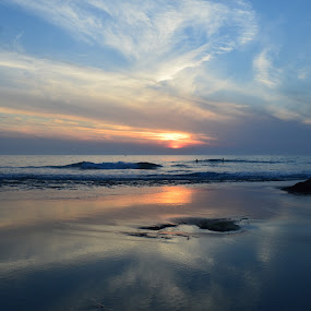 Just Chilling by Lynnie Adams - Landscapes Sunsets & Sunrises ( clming, blue, sunset, beach, seaside,  )