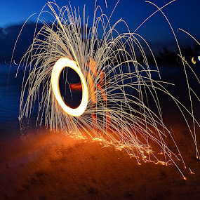 Fire Ring by MaryBeth Schepper - Abstract Fire & Fireworks ( fireworks, beach )