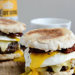 Bacon Cheeseburgers with a Fried Egg + Maple Aioli.