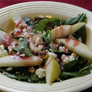 Spinach, Pear and Feta Salad.