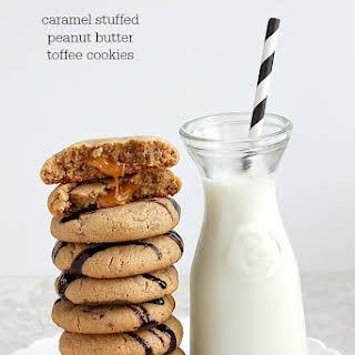 Caramel Stuffed Tofee Peanut Butter Cookies.