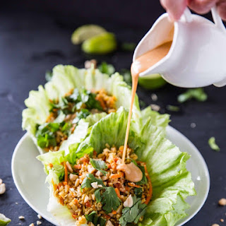 Cauliflower Rice Lettuce Cups with Sriracha Peanut Sauce