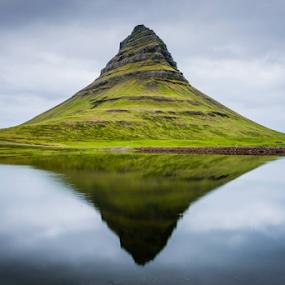 Kirkjufell, Iceland by Simon Gelfand - Landscapes Mountains & Hills ( mirror, water, kirkjufellsfoss, iceland, reflection, simon gelfand, mountain, green, nikon d800, clue, landscape, nikon )
