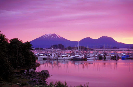sunset-Sitka-Alaska - Sunset over Sitka Harbor, with Mount Edgecumbe in the background.