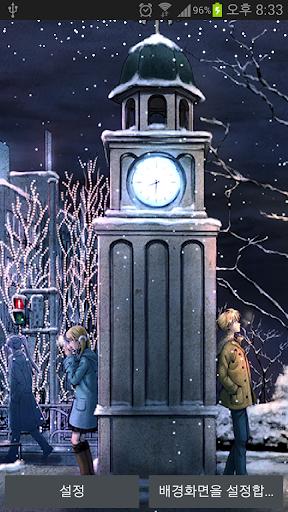 눈날리는 라이브배경 시계탑