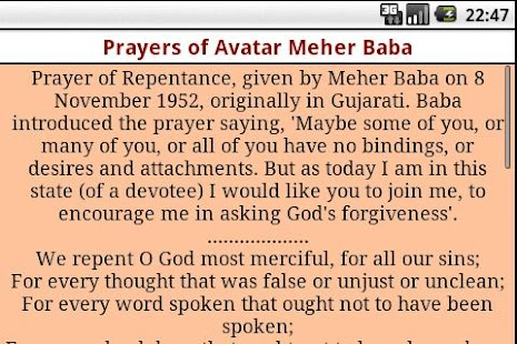 Prayers of Avatar Meher Baba - screenshot thumbnail