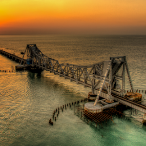 Sunset at Pamban Bridge by Vamsi Korabathina - Buildings & Architecture Bridges & Suspended Structures ( waterscape, sunset, pamban, rameshwaram, bridge )