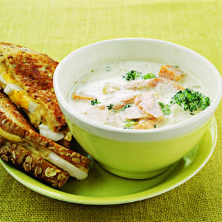 Salmon, Sweet Potato, and Broccoli Chowder.