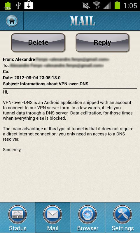 VPN over DNS - screenshot
