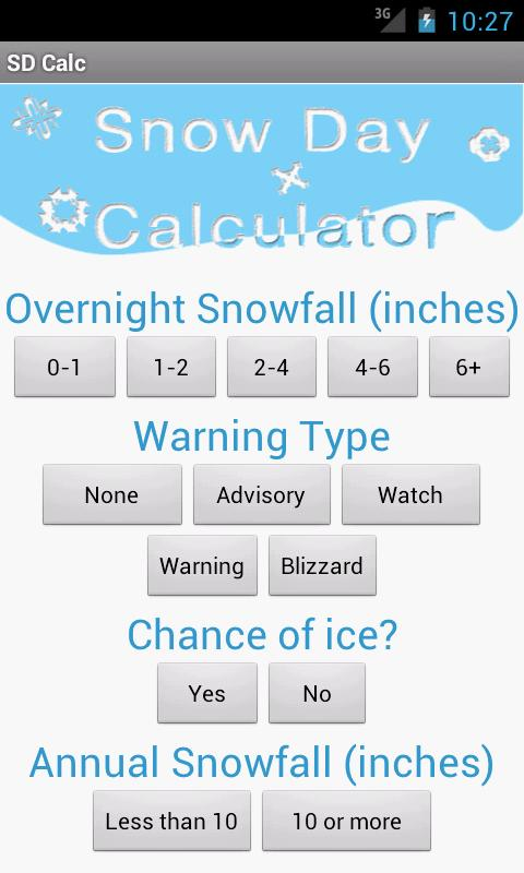 Snow Day Calculator - screenshot