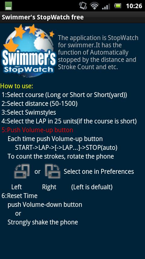 Swimmer's StopWatch free - screenshot
