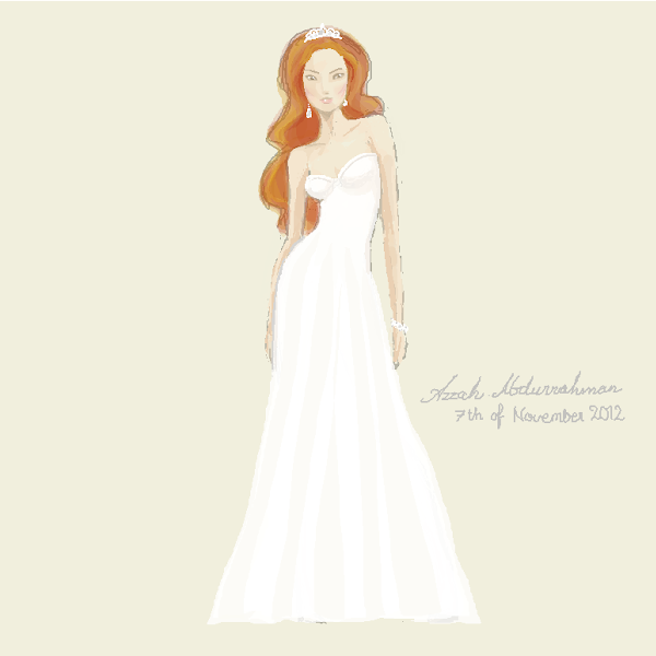 Dreamlines  Personalized Handcrafted Wedding Sketch for Her