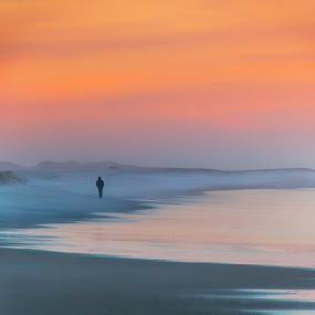 Disappearing in the Mist by Paulo Veiga - Landscapes Beaches ( canon, dunes, 550d, reflections, beach, salt water, photography, wet sand, sky, wet, man, water, orange, sand, 2014, twilight, paulo veiga, pixoto, sea, disappearing in the mist, bruma nevoeiro praia, fog, sand dunes, sunset, reflections on water, sundown, efs 18-200mm portugal, mist,  )