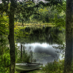 Rowboat by Ward Vogt - Landscapes Waterscapes ( water, camping, pa, green, lake, pennsylvania, boat, rowboat, pond, cherry ridge, photography, ward vogt )