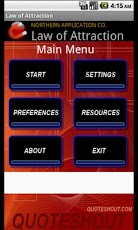 main menu of free law of attraction app for android