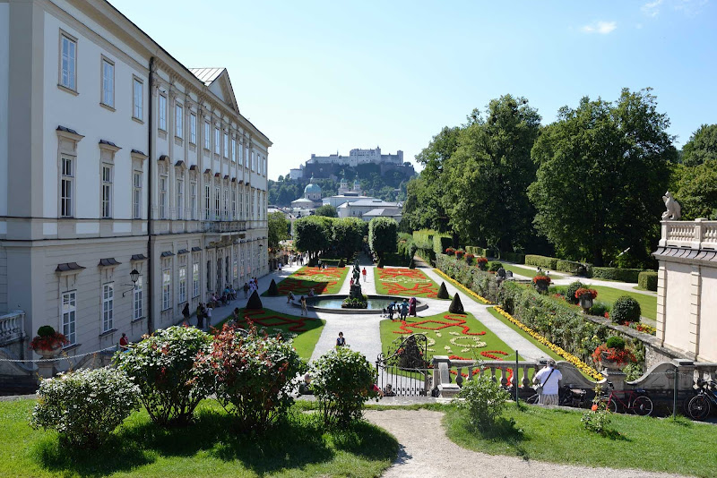 Mirabellgarten in Salzburg, Austria. The prince-archbishop built a palace on the grounds as a token of love for his future wife.