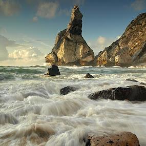 Praia da Ursa by Julio Cardoso - Landscapes Beaches ( waterscape, sintra, long exposure, beach, rocks )