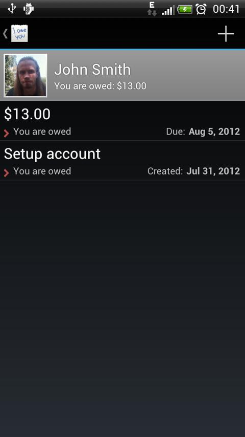 IOU - debt manager - screenshot