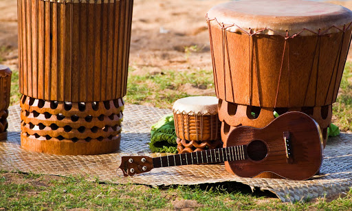 Pahu-and-ukulele - A traditional pahu, or drum, and ukulele on Hawaii. Both are an integral part of Hawaiian music.