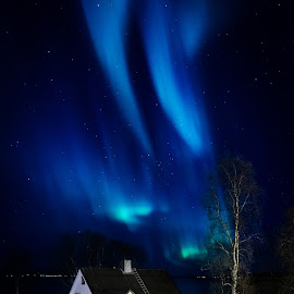 Lights above by Tzvika Stein - Buildings & Architecture Homes ( home, aurora, northern lights, aurora borealis, night, house, norway, , serenity, blue, mood, factory, charity, autism, light, awareness, lighting, bulbs, LIUB, april 2nd )