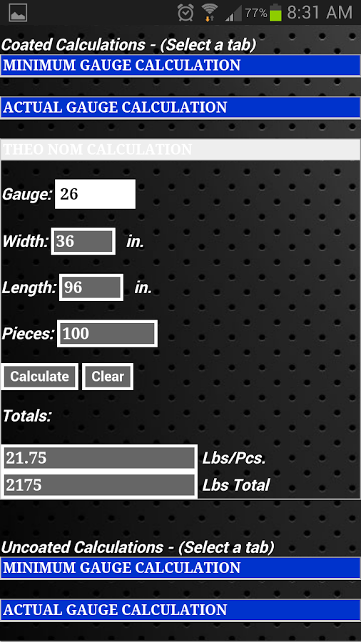 Steel Calculator - screenshot