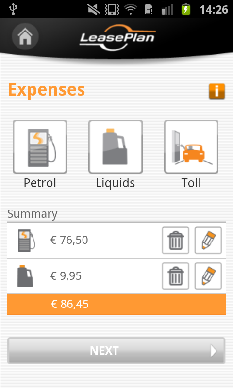 My LeasePlan App- screenshot