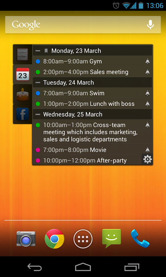All-in-One Agenda widget - screenshot