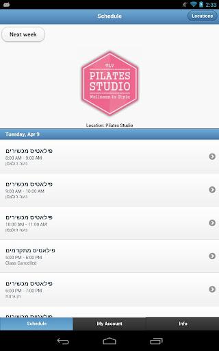TLV Pilates Studio Schedule