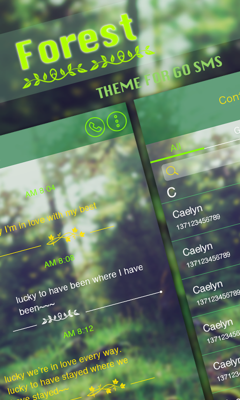 GO SMS PRO FOREST THEME- screenshot