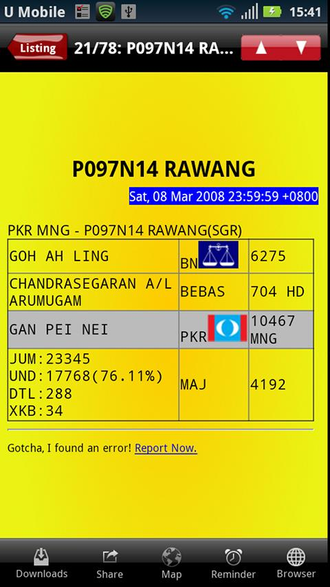 Undi PRU13 Malaysian Election - screenshot