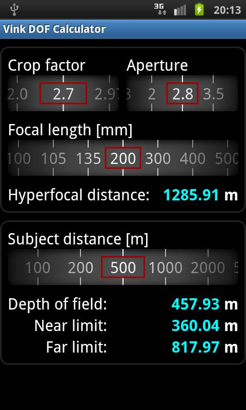 Vink DOF Calculator Lite - screenshot